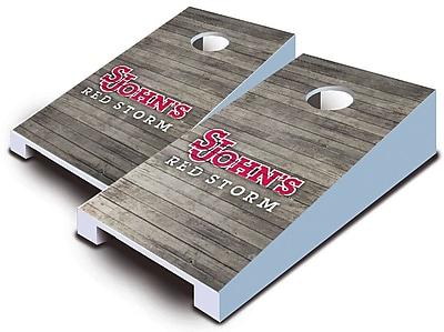 AJJCornhole NCAA 10 Piece Distressed Tabletop Cornhole Set; St John's Red Storm