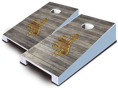 AJJCornhole NCAA 10 Piece Distressed Tabletop Cornhole Set; Wyoming Cowboys