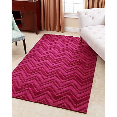 Abbyson Living Stacy Hand-Tufted Dark Pink Area Rug; 3' x 5'
