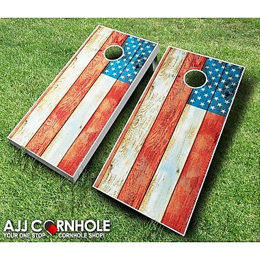 AJJCornhole 10 Piece American Flag Distressed Cornhole Set; Red/Orange