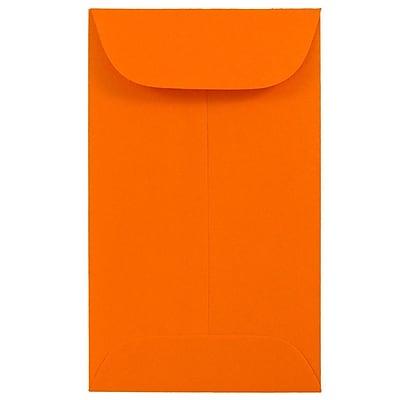 JAM Paper® #3 Coin Envelopes, 2.5 x 4.25, Brite Hue Orange Recycled, 100/pack (356730538B)