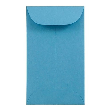 JAM Paper® #3 Coin Envelopes, 2.5 x 4.25, Brite Hue Blue Recycled, 100/Pack