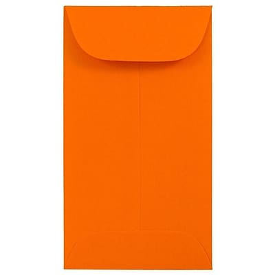 JAM Paper® #5.5 Coin Envelopes, 3 1/8 x 5 1/2, Brite Hue Orange Recycled, 500/box (356730548H)