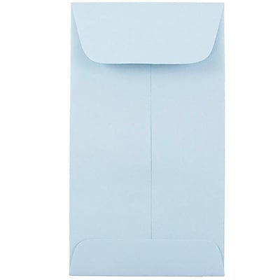 JAM Paper® #6 Coin Envelopes, 3 3/8 x 6, Baby Blue, 100/pack (356730563B)