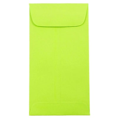 JAM Paper® #7 Coin Envelopes, 6.5 x 3.5, Brite Hue Ultra Lime Green, 25/pack (1526752)