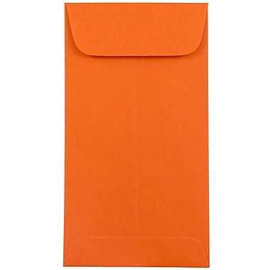 JAM Paper® #7 Coin Envelopes, 3 3/8 x 6, Brite Hue Orange Recycled, 25/pack (1526755)