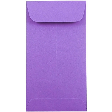 JAM Paper® #7 Coin Envelopes, 6.5 x 3.5, Brite Hue Violet Purple, 25/pack (1526758)