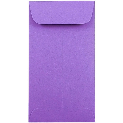 JAM Paper® #7 Coin Envelopes, 6.5 x 3.5, Brite Hue Violet Purple, 1000/carton (1526758C)