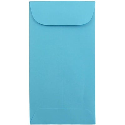 JAM Paper® #7 Coin Envelopes, 6.5 x 3.5, Brite Hue Blue Recycled, 25/pack (1526764)