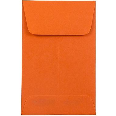 JAM PaperMD – Enveloppes à monnaie nº 1, 2,25 x 3,5 po, orange cosmique, 50/paquet