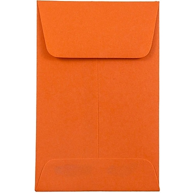 JAM PaperMD – Enveloppes à monnaie no 1, 2,25 x 3,5 po, papier recyclé Brite Hue orange, 500/paquet