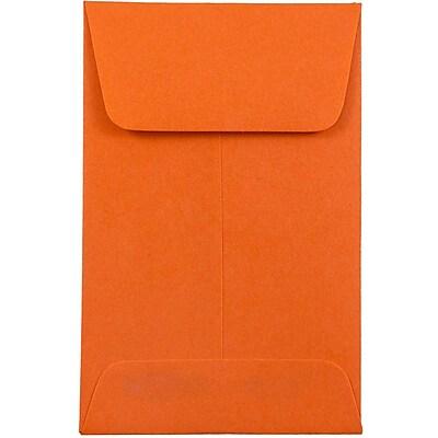 JAM Paper® #1 Coin Envelopes, 2.25 x 3.5, Brite Hue Orange Recycled, 500/box (352627815H)