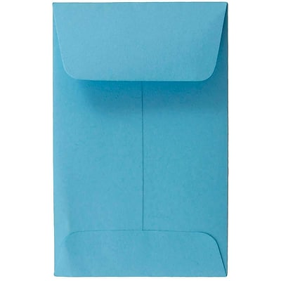 JAM Paper® #1 Coin Envelopes, 2.25 x 3.5, Brite Hue Blue Recycled, 500/box (352727818H)