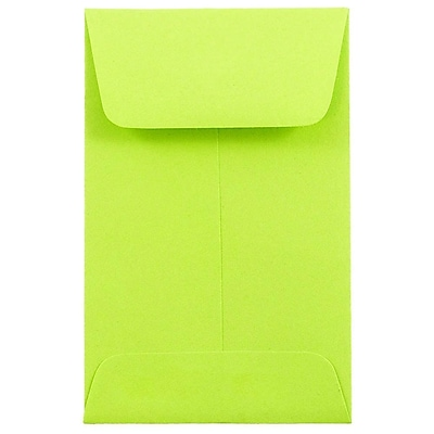 JAM Paper® #1 Coin Envelopes, 2.25 x 3.5, Brite Hue Ultra Lime Green, 500/box (352827826H)