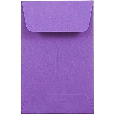 JAM Paper® #1 Coin Envelopes, 2.25 x 3.5, Brite Hue Violet Purple Recycled, 1000/carton (353027837C)