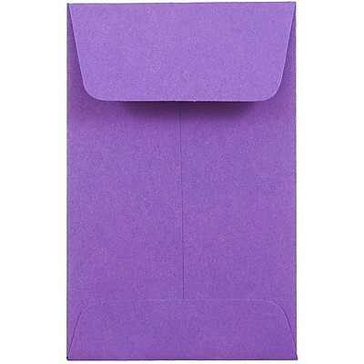 JAM Paper® #1 Coin Envelopes, 2.25 x 3.5, Brite Hue Violet Purple Recycled, 1000/carton (353027837C)