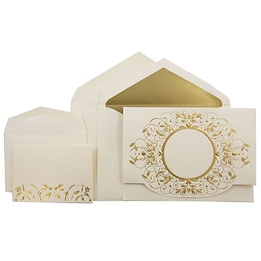 JAM PaperMD – Ensemble combiné de faire-part de mariage, 1petit/1grand, écru avec motif doré, enveloppe doublée or, 150/paquet
