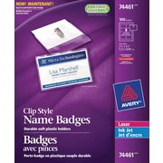 "Avery® 74461 Garment Friendly™ Clip Style Name Badges 74461, 2-1/4"" x 3-1/2"", Top-Loading, White, 100/Pack"