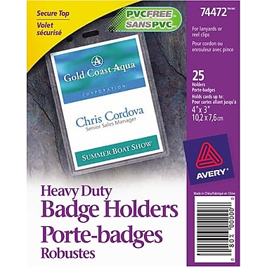 Avery® 74472 Heavy-Duty Badge Holders for Inserts up to 4