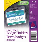"Avery® 74471 Heavy-Duty Badge Holders for Inserts up to 3"" x 4"", 25/Pack"