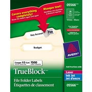 Avery® 5566 Permanent Inkjet/Laser Filing Labels with TrueBlock™, White, 1500/Pack