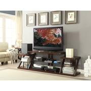 Brassex – Meuble pour téléviseur avec tablettes en verre trempé 306, noyer foncé, 84 x 19 x 25 po