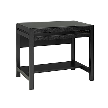 Brassex 151140-BK Computer Desk with Pull-Out Keyboard Tray, Black, 35.5