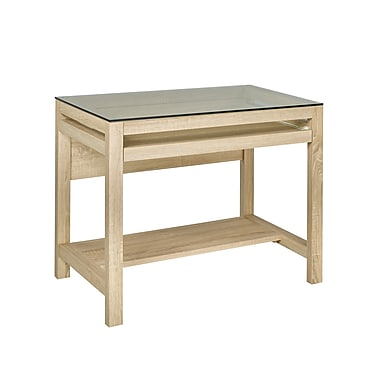 Brassex 151140-WW Computer Desk with Pull-Out Keyboard Tray, Weathered White, 35.5