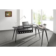 "Brassex CT-3818 Office Desk with Tempered Glass Top, Black, 62"" x 59"" x 30"
