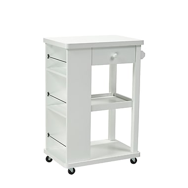 Brassex 151095-WH Kitchen Cart with Storage Drawer, 2 Storage Shelves and 3 Side Spice Racks, White, 23