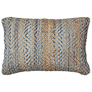 LR Resources Coastal Natural Fiber Accent Lumbar Pillow; Light Blue