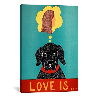 iCanvas Love Is Dog Girl Black by Stephen Huneck Painting Print on Wrapped Canvas