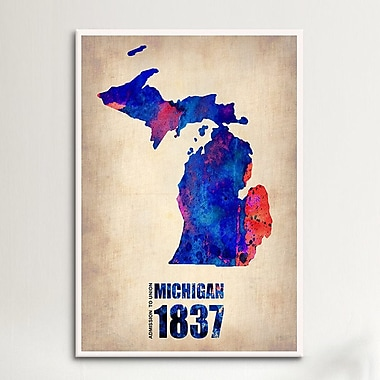 iCanvas Naxart Michigan Watercolor Map Graphic Art on Wrapped Canvas; 61'' H x 41'' W x 1.5'' D