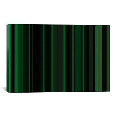 iCanvas Striped Dark Matrix Green Graphic Art on Canvas; 12'' H x 18'' W x 0.75'' D