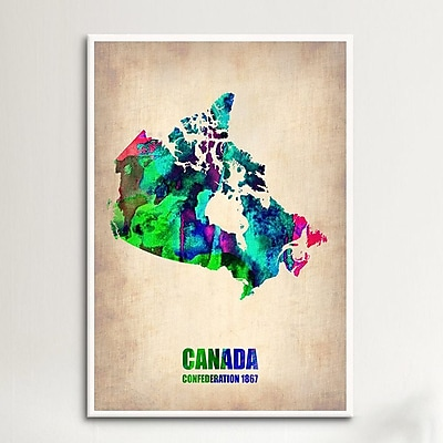 iCanvas Canada Watercolor Map by Naxart Print Graphic Art on Canvas; 18'' H x 12'' W x 0.75'' D