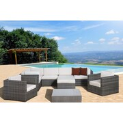 International Home Miami Southampton 9 Piece Sectional Deep Seating Group w/ Cushions; Off-White
