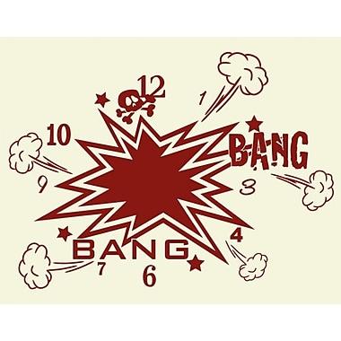 Style and Apply Bang Bang Wall Clock Wall Decal; Brown