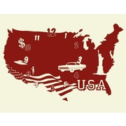 Style and Apply USA Wall Clock Wall Decal; Gold