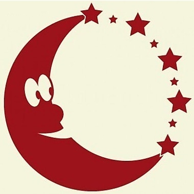 Style and Apply Moon Wall Clock Wall Decal; Dark Red