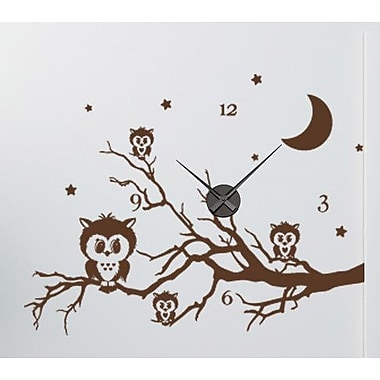 Style and Apply Owl Branch Wall Clock Wall Decal; Dark Gray