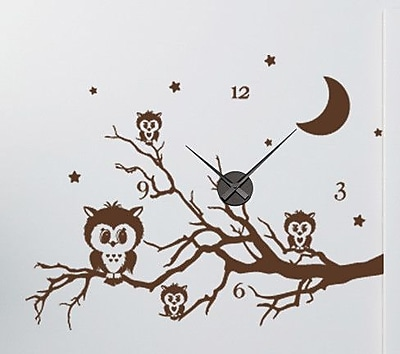 Style and Apply Owl Branch Wall Clock Wall Decal; Turquoise