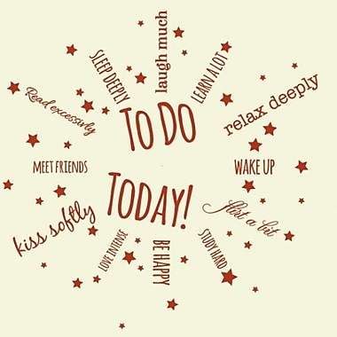 Style and Apply To Do Today Wall Clock Wall Decal; Brown