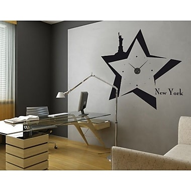 Style and Apply New York Wall Clock II Wall Decal; Brown