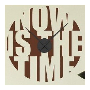 Style and Apply Now is the Time Wall Clock Wall Decal; Dark Green