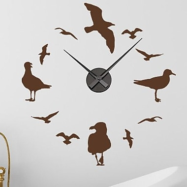 Style and Apply Gulls Wall Clock Wall Decal; Yellow
