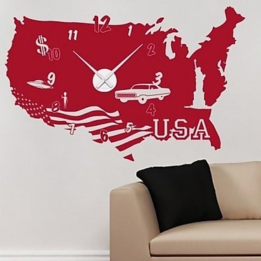 Style and Apply USA Wall Clock Wall Decal; Pink