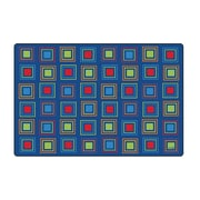 Carpets for Kids Premium Collection Primary Squares Blue Seating Area Rug; 4' x 6'