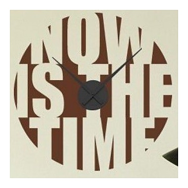Style and Apply Now is the Time Wall Clock Wall Decal; Beige