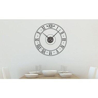 Style and Apply Roman Time Wall Clock Wall Decal; Dark Green