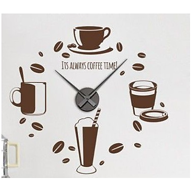 Style and Apply Coffee Time Wall Clock Wall Decal; Silver
